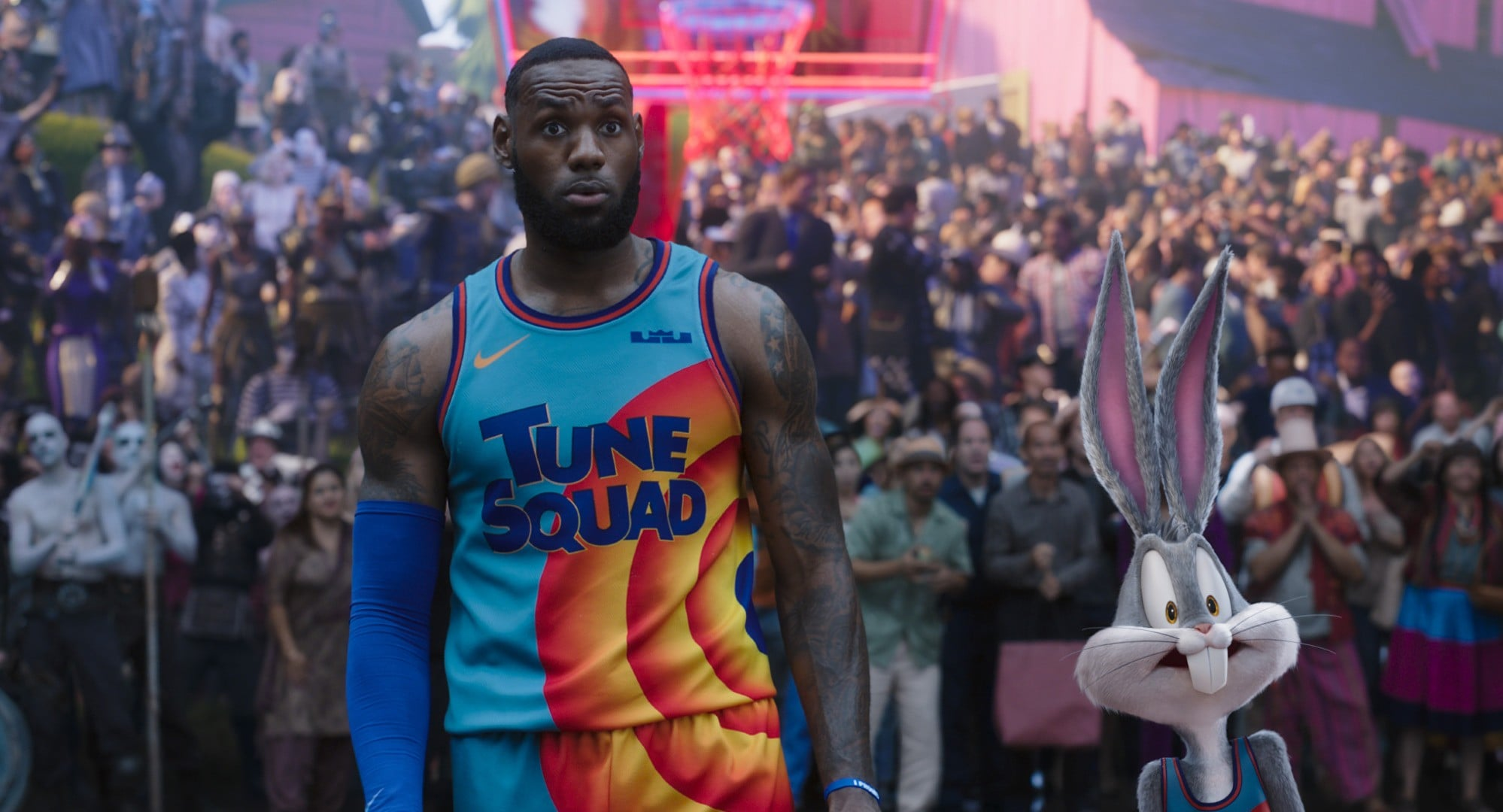 SPACE JAM: A NEW LEGACY, from left: LeBron James, Bugs Bunny