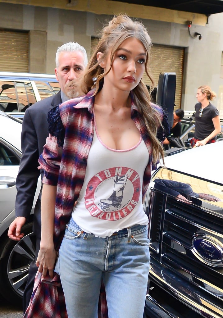 Gigi Hadid Wearing Denim Bike Shorts Popsugar Fashion