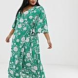 Brave Soul Plus Kea Midi Wrap Dress in Bold Floral Print