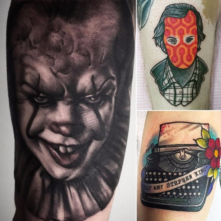 Stephen King Tattoos Popsugar Entertainment Kings avenue tattoo is a professional tattoo studio with locations in long island and manhattan new york founded by tattoo artist mike rubendall. stephen king tattoos popsugar