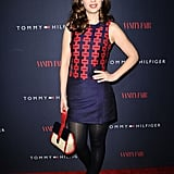 Actress meets singer meets designer: Zooey rocks a piece from her own Tommy Hilfiger Capsule Collection at the launch event.