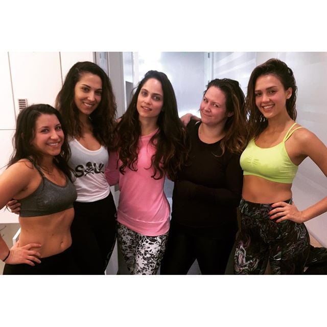 Here's to another great sweat session for Jessica Alba.