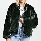 Free People Furry Bomber Jacket