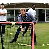 Harry joined in on a game of cricket while celebrating the expansion of Coach Core in England in October 2016.