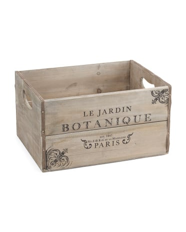 Large Vintage Wood Paris Storage Bin ($17)
