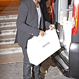 Kanye West was seen with a shopping bag in Rome.