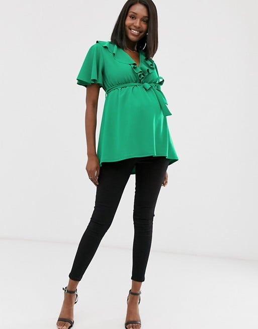 Blume Maternity exclusive wrap front tunic with self belt in bright green | ASOS