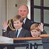 William and Harry waved as they arrived at the royal yacht Britannia in October 1991.