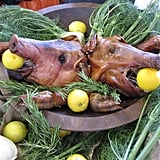 More pig heads! Isn't the use of fennel in this display fab?