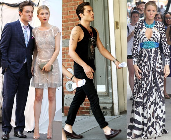 Pictures of Ed Westwick, Blake Lively, Clemence Poesy and Leighton Meester Filming Gossip Girl in New York