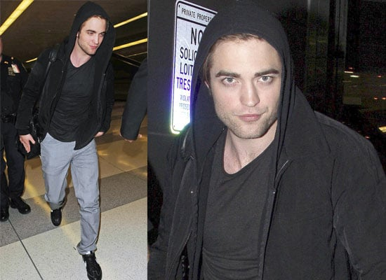 Photos Of Robert Pattinson Leaving LAX and Arriving At JFK In New York Following MTV Movie Award Wins For Twilight