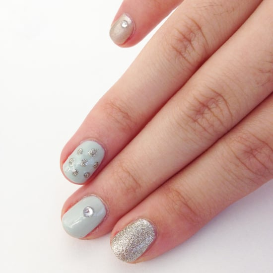 Holiday Nail Art Tutorial With Glitter And Rhinestones Popsugar Beauty
