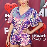 Taylor Swift Wearing an Orchid Sequinned Romper at the 2019 iHeart Radio Music Awards