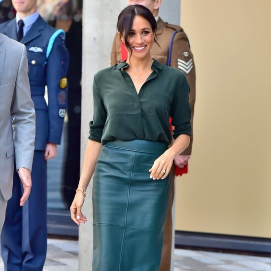 Meghan Markle's Green Hugo Boss Leather Skirt