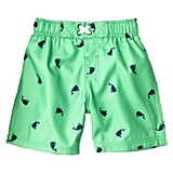 Your little prepster will love Circo's whale print ($10) swim shorts in cool green and navy.