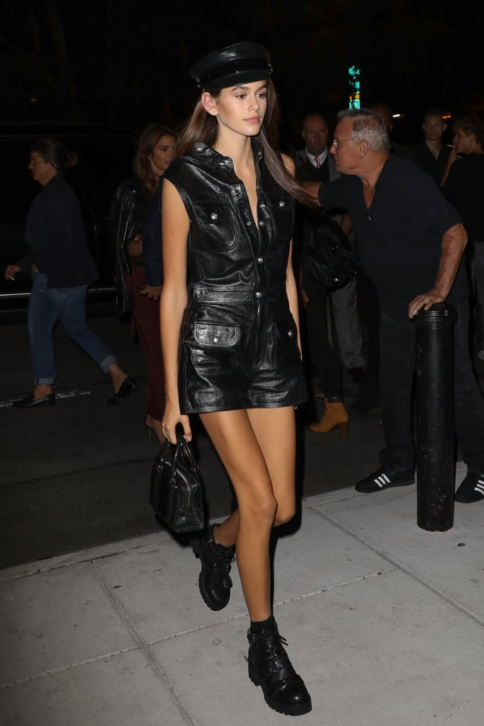 Kaia Styled a Leather Dress With a Matching Newsboy Cap