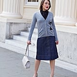 A Buttoned-Up Cardigan and Power Pumps