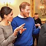 Prince Harry wore an Everlane sweater in the most gorgeous shade of blue when he visited Cardiff Castle with Meghan in January 2018. We got a great look at it once he shed his coat. Meanwhile, Meghan stood by in an off-the-shoulder Theory blazer.