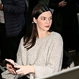 Kendall Hung Out Backstage at Donna Karan in an Oversize Oatmeal Sweater