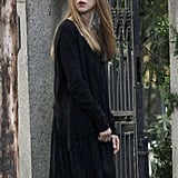 Taissa Farmiga was in a black ensemble for American Horror Story: Coven in New Orleans on Monday.