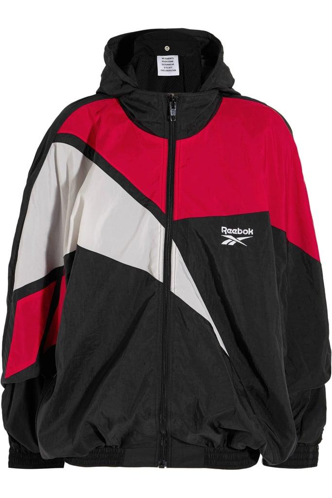 Vetements Reebok Oversized Hooded Shell Jacket - Black