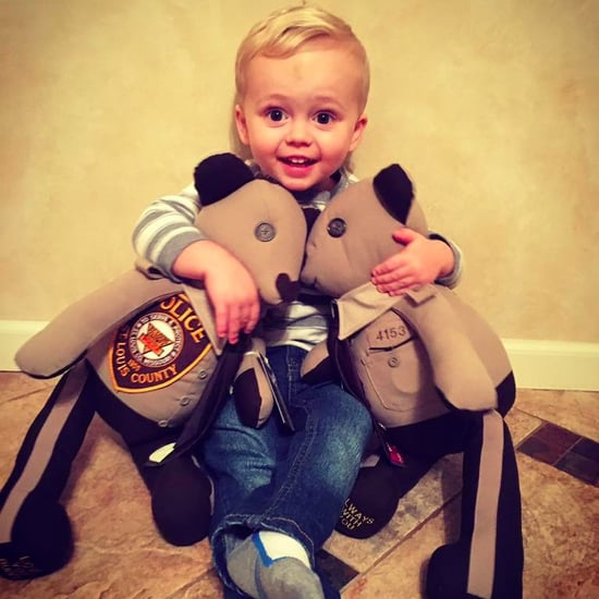 Boy Hugs Bears Made Out of His Dad's Uniforms