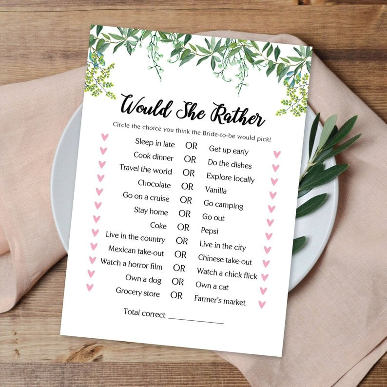 photograph relating to Would She Rather Bridal Shower Game Free Printable named Would She Pretty Printable Bridal Shower Activity Printable