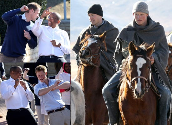 Pictures of Prince William and Prince Harry Dancing, Riding Horses, Meeting Children in Lesotho Africa