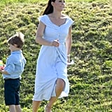 Kate Wore a Blue Striped Zara Dress During the Royal Charity Polo Game