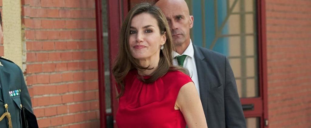 Queen Letizia Red Laser-Cut Heels June 2017