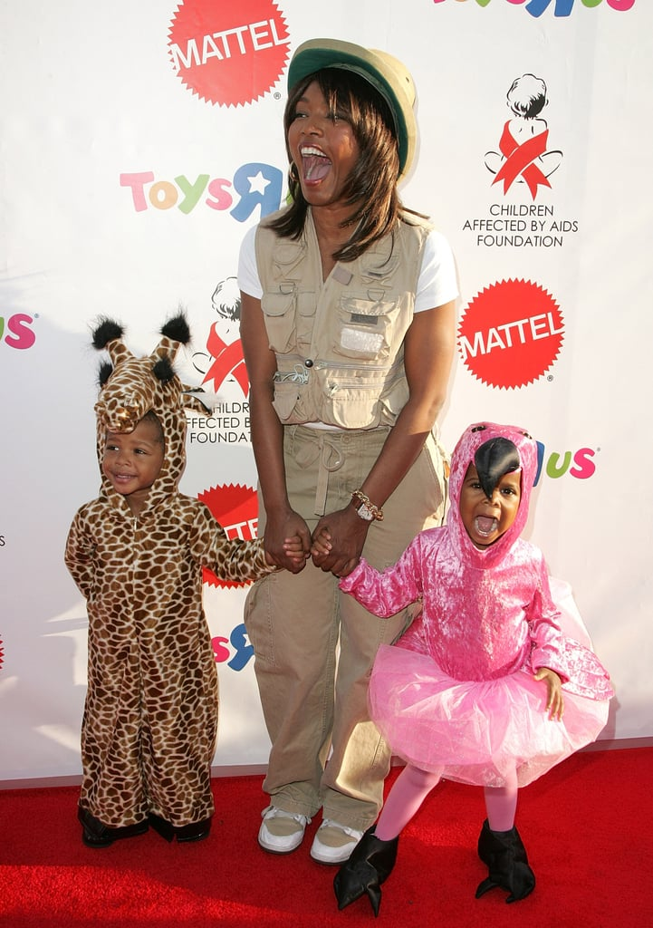 Angela Bassett and Her Twins as a Zookeeper, a Giraffe, and a Flamingo
