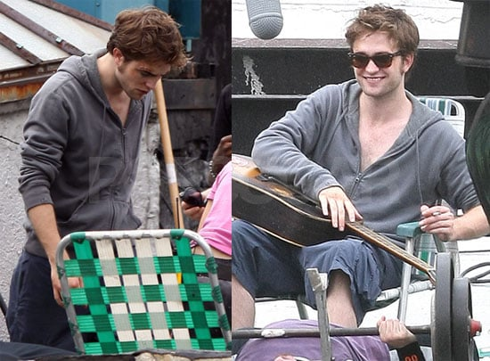 Robert Pattinson On the Set With Guitar