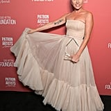 Wearing a light pink Dior dress at the SAG-AFTRA awards.