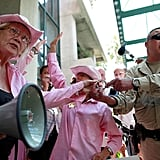 Code Pink protestors clashed with policemen.