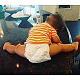 "In September 2015, Alicia shared this gem of Genesis, writing, ""Baby yoga-time!! Something to make you smile!!"""