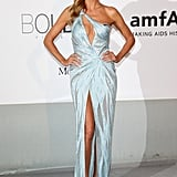 Heidi Klum wore a low-cut baby-blue gown.