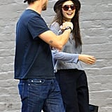 Elizabeth Olsen joked around with Boyd Holbrook in New Orleans.