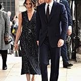 أبريل: حضرت ميغان مع هاري حفل تأبينٍ خاصٍّ في نفس اليوم الذي أنجبت فيه كيت ميدلتون الأمير لويس.