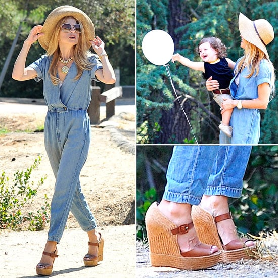 Pictures of Rachel Zoe Hiking with son Skyler Berman in LA: Steal Her Cute Denim Playsuit and Wedges Off-Duty Style