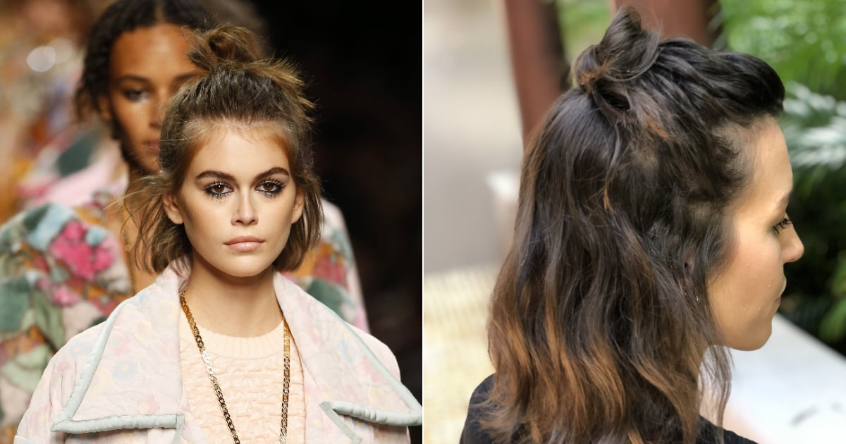 Using Kaia Gerber as inspiration, one editor shows you how to achieve a braided top knot hairstyle when you have a bob