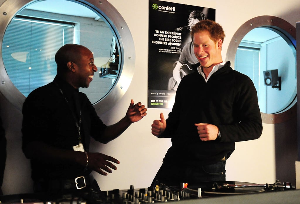 Prince Harry got friendly with the dj during his visit to the Confetti Institute of Creative Technologies.