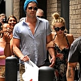 Miley Cyrus and Liam Hemsworth arrived at their hotel in Philadelphia, PA, on Thursday.