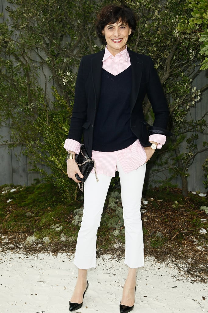 Inès de la Fressange turned out a polished, albeit low-key, look that channeled a minimalist version of preppy at Chanel.