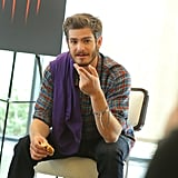 Andrew Garfield addressed the group at an Amazing Spider-Man 2 fan event in LA.