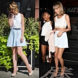 Taylor loves this simple blue skirt — she's worn it in public at least twice — and the best part? It's only $49 from Urban Outfitters! Paired with a white crop top and cream heels, this outfit would easily work for both day and night, and I felt superfeminine while rocking it.