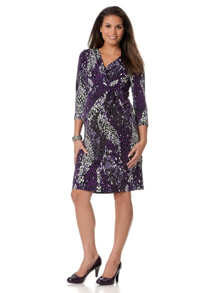This python-print long-sleeved maternity dress from Motherhood Maternity ($40) becomes more playful with its purple accents.