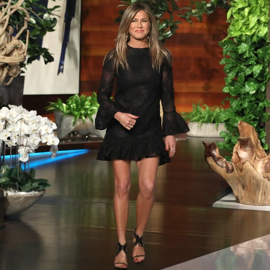 Jennifer Aniston Black Dress and Studded Sandals on Ellen