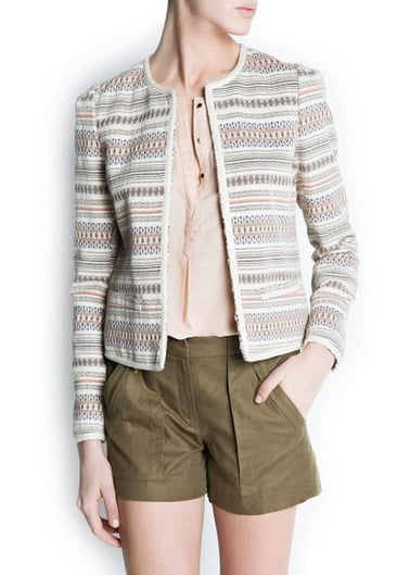Mango's jacquard jacket ($100) will undoubtedly lend sophistication to everything from dresses to denim. We also love the styling here.