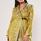Missguided Yellow Jacquard Satin Blazer Dress