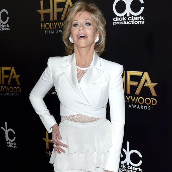 Jane Fonda Wearing White Balmain Outfit on the Red Carpet